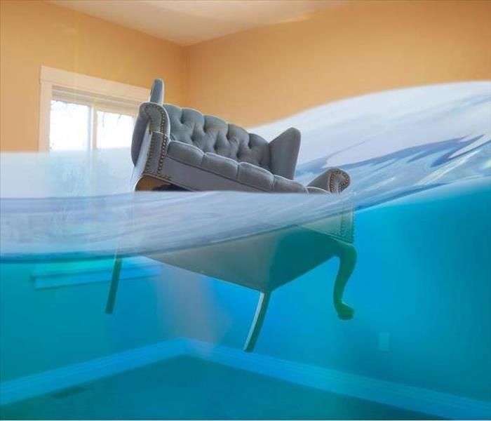 Furniture in home with flooding